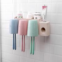 多功能牙刷置物架刷牙杯漱口套装吸壁式卫生间牙膏牙缸洗漱收纳盒浴室用品