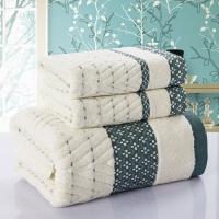 纯棉毛巾浴巾三件套装 浴巾柔软加厚软毛巾礼盒套装绣字