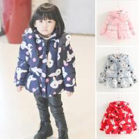 女童冬季新款韩版儿童宝宝卡通满版小兔围脖加厚棉衣外套
