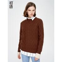 初语冬天毛衣女2018秋装新款时尚修身长袖撞色袖口粗棒针织衫