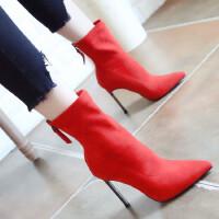 欧美时尚中筒弹力靴秋冬新款高跟短靴女尖头细跟气质磨砂女靴