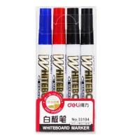 得力33104 白板笔4支套装 黑红蓝 易擦除 白板笔 4支装