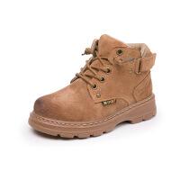 【活动价:96】儿童靴子2019年新款男童马丁靴秋冬季真皮亲子靴子中大童女童棉靴
