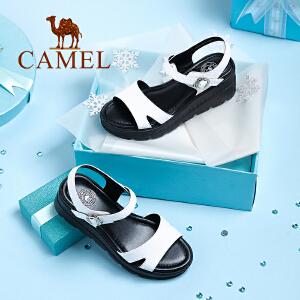 Camel/骆驼女鞋 2018新款 夏季真皮休闲坡跟凉鞋韩版学生厚底凉鞋松糕鞋