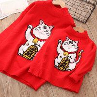招财猫毛衣母女装红色毛衣韩版亲子装冬装儿童圆领打底衫针织衫