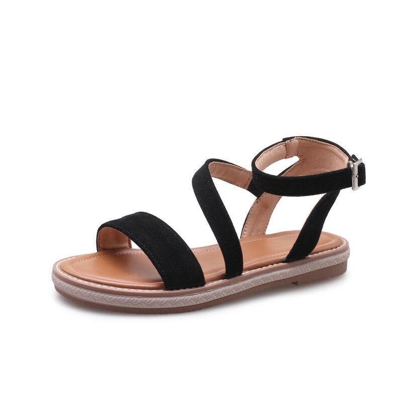 ELEISE美国艾蕾莎新品071-S25韩版磨砂绒面平跟舒适女士凉鞋