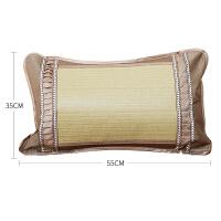 夏季竹席凉席蔺草枕头颈椎枕护颈枕茶梗枕芯单人一对拍2 35*55cm 单只装
