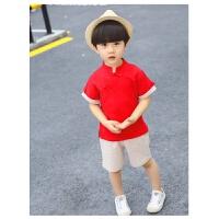 男童唐装复古儿童汉服古装夏季中国风民国童装中式男宝宝棉麻套装