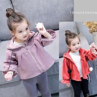 韩版冬装新款女童韩版休闲百搭加绒外套毛球拉链衫上衣B2-T22
