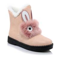 童鞋女公主短靴兔兔鞋韩版2018秋冬季小女孩棉靴可爱毛靴女童靴子真皮