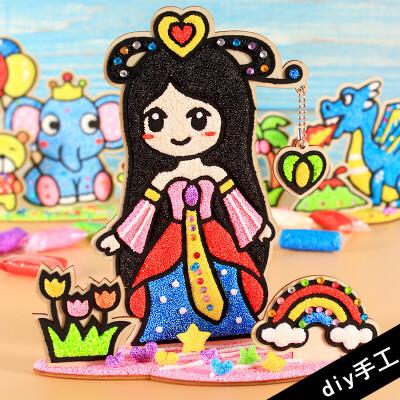珍珠雪花泥画板儿童diy手工填色制作粘土3-12岁女孩玩具3D木板画