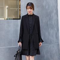 2018春装新款女士休闲西服中长款大码气质显瘦小西装外套女 黑色