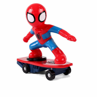 社会人蜘蛛侠电动滑板车玩具儿童无线充电遥控特技翻斗车抖音 抖音同款蜘蛛侠电动滑板车 送回力车