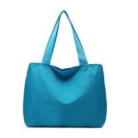 2018新款购物袋双层拉链手提包妈咪尼龙防水小布包帆布包女包小包 孔雀蓝 尼龙湖蓝色