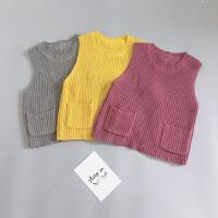 秋季新款女童韩版黄色蝴蝶结毛线马甲宝宝紫色纯棉背心针织衫