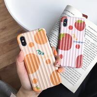 ins清新水果苹果xs/max/xr手机壳行李箱iPhone7/8plus女6s软硅胶 i6/6s 立体条 黄色波点菠