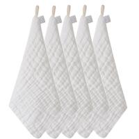 纱布毛巾婴儿口水巾洗脸巾棉小方巾柔儿童手帕手绢 5条(白 白 白 白 白)