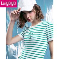 【5折价79.5】Lagogo/拉谷谷2018年春季新款时尚圆领字母条纹针织衫HAMM222C16