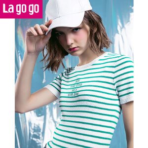 Lagogo/拉谷谷2018年春季新款时尚圆领字母条纹针织衫HAMM222C16