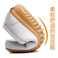 冬季加绒豆豆鞋女真皮工作鞋白色护士鞋保暖孕妇妈妈平底棉鞋真皮