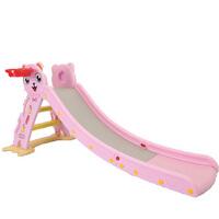 儿童室内滑梯家用宝宝滑滑梯折叠小鹿音乐滑梯塑料玩具加长小型 粉色小猫带篮框带底座+感应音乐 送小球