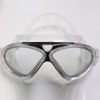 高清潜水镜游泳镜防雾男士女士防水平光大框游泳眼镜泳帽