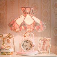 【限时7折】豫见美农欧式床头灯女孩粉色蕾丝钟表灯公主房儿童结婚生日礼物卧室台灯