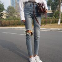 铅笔裤不规则高腰牛仔裤女春季新款韩版百搭显瘦破洞毛边九分裤