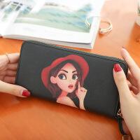 可爱卡通女士钱包女长款日韩版大容量个性拉链薄钱夹手拿包小清新