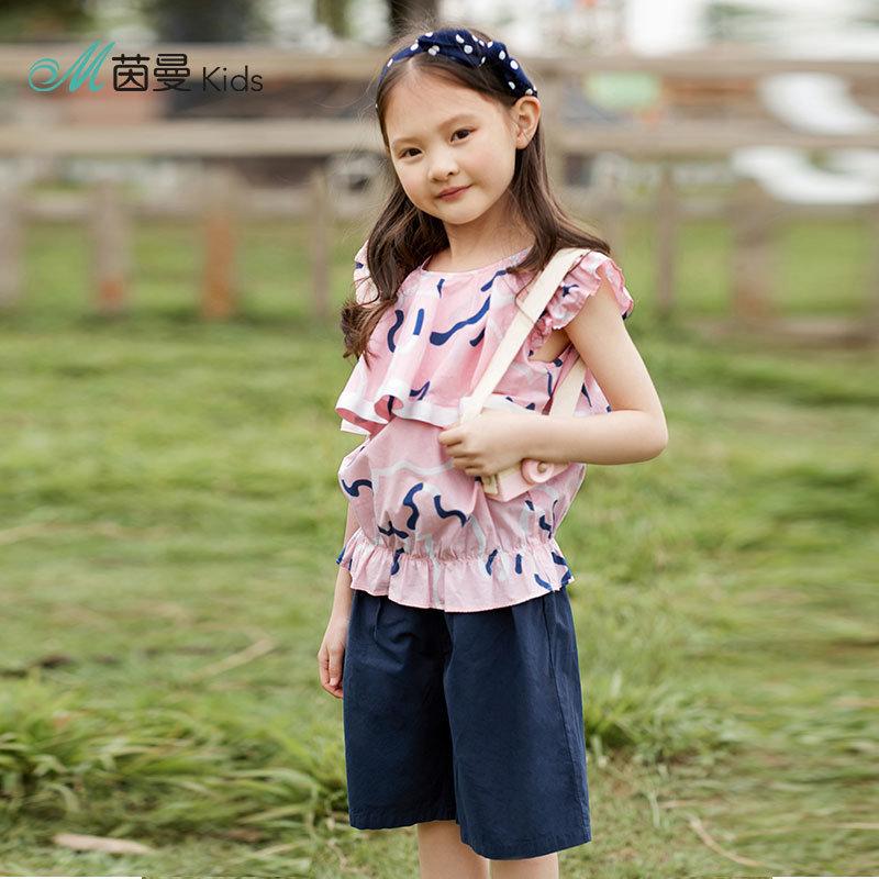 茵曼童装夏装新款女童洋气儿童套装短袖恤女童短裤两件套【3882250009】 棉麻艺术家