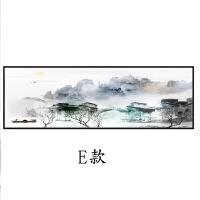 新中式装饰画禅意山水画房间客厅壁画横版餐厅巨幅中国风背景挂画