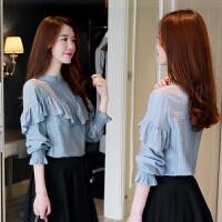 春装新款女雪纺打底小衫长袖2018新款韩版甜美公主雪纺衫上衣