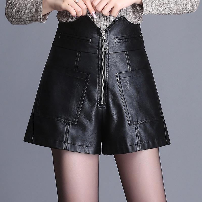 高腰阔腿裤皮短裤女2018秋冬新款韩版时尚皮裤子大码显瘦靴裤潮