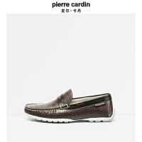 皮尔卡丹新款头层牛皮皮革纹耐磨舒适套脚鞋男鞋 商务男士皮鞋