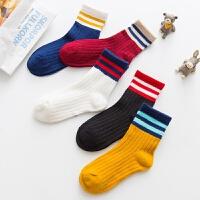 秋冬季新品儿童袜子棉质童袜透气宝宝袜潮范中筒棉袜5双装 混色5双 S码 3-5岁