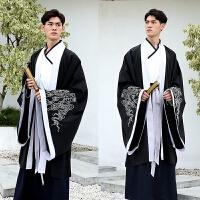 中国风古装男装大码汉服男大袖长袍外套文士书生古风交领襦裙套装 黑 A款仅大袖袍6685