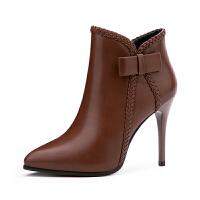 2018秋冬季新款加绒短靴防水台高跟鞋马丁靴侧拉链女靴百搭裸靴子