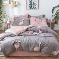 四件套冬季珊瑚绒法兰绒网红床单ins风被套双面绒床上用品法莱绒 1.5m床单款:被套:200*230cm 床单: