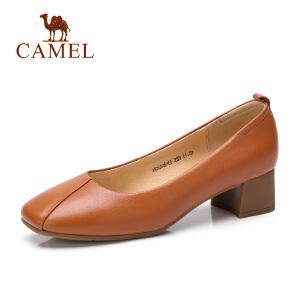 骆驼2018秋季新款女鞋妈妈鞋舒适优雅鞋子方跟真皮鞋通勤中跟单鞋