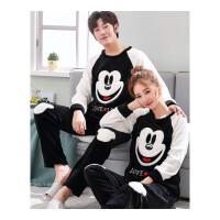 新款冬季韩版情侣睡衣女珊瑚绒加厚男套装可爱秋冬款