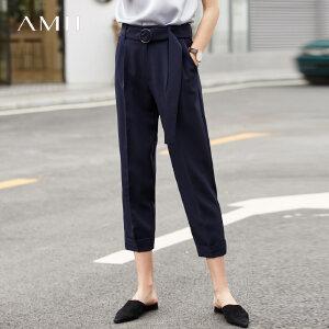 【到手价:161.9元】Amii极简韩版网红ulzzang西装裤2019夏季新配腰带藏肉显瘦九分裤