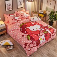 卡通四件套纯棉kt猫床上用品儿童女孩三件套床单被套1.5/1.8m