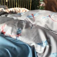 天丝四件套春夏新款床上用品丝滑凉爽中式蜻蜓4件套