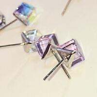 欧丁s925纯银耳钉方形气质女款甜美时尚简约日韩国耳环饰品H028