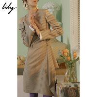 【25折到手价:179.75元】 Lily春新款女装格纹露肩腰带连衣裙118330C7253