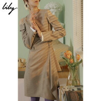 Lily春新款女装格纹露肩腰带连衣裙118330C7253