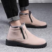 冬季韩版潮流加绒保暖马丁男鞋棉靴子一脚蹬男靴雪地靴男士短靴潮