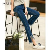 【预估价155元】Amii极简港风chic修身流苏九分牛仔裤2019秋新款显瘦牛仔蓝牛仔裤