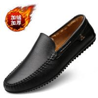 冬季豆豆鞋男保暖商务男鞋软底软皮男士休闲皮鞋中年爸爸鞋子