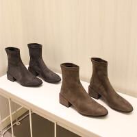 2018新款sw短靴方跟中跟瘦瘦靴ins显瘦弹力靴裸靴马丁靴踝靴女潮 真皮版